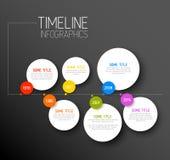 Mall för Infographic horisontalmörk timelinerapport royaltyfri illustrationer