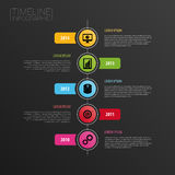 Mall för Infographic modern horisontaltimelinedesign symboler Royaltyfri Foto