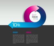 Mall för Infographic pilcirkel, diagram, diagram med textfält Arkivbild