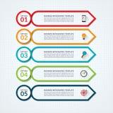 Mall för Infographic pildesign med 5 alternativ vektor illustrationer