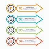 Mall för Infographic pildesign med 4 alternativ royaltyfri illustrationer