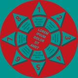Mall för Infographic stjärnatext av röda och turkosfärger Royaltyfri Foto