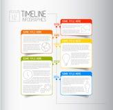 Mall för Infographic timelinerapport med beskrivande bubblor Arkivbild