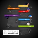 Mall för Infographic timelinerapport med symboler, etiketter och suddighet stock illustrationer