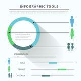 Mall för infographics för lägenhet för genusfamiljsamkväm tematisk Royaltyfri Bild