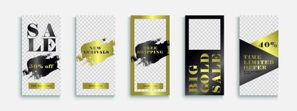 Mall för Instagram lyxig modeberättelser med guld- textur Abstrakt illustration i modern stil med guld- mallberättelse royaltyfri illustrationer