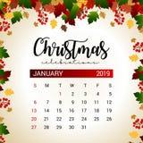 2019 mall för Januari kalenderdesign av garnering för jul eller för nytt år royaltyfri illustrationer