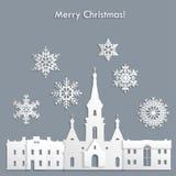 Mall för jul vykort, inbjudan, affisch Arkivbilder