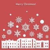 Mall för jul vykort, inbjudan, affisch Royaltyfria Foton