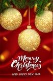 Mall för juldesignvektor Calligraphic märka dekorerat för glad jul Julaffischmall vektor royaltyfri illustrationer