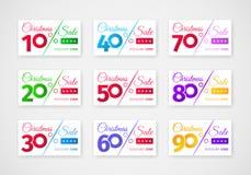 Mall för julförsäljningsrabatter Ställ in av kuponger med olika procentsatser royaltyfri illustrationer