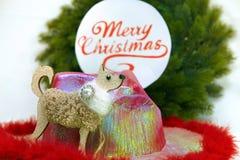 Mall för julhälsningkort på viten Julgran platta med text på arkivfoton