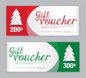 Mall för julkupong-, Sale baner, horisontalför website, röd och grön bakgrund för julaffischer, för kort, för titelrader, vektor stock illustrationer