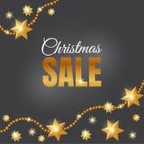 Mall för julreadesign Julförsäljningsbaner med guld- stjärnor royaltyfri illustrationer