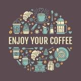 Mall för kaffedanandeaffisch Brygga vektorlinjen symbol, cirkelillustration för meny Beståndsdelar - kaffebryggare, fransman Arkivbilder