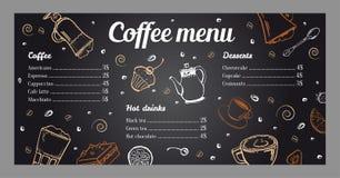 Mall för kaffemenydesign med listan av varma drinkar och efterrätter på svart tavlabakgrund stock illustrationer