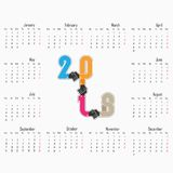 Mall för 2018 kalender Kalender för 2018 år Vektordesignstatistik Arkivbild