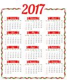 Mall för 2017 kalender vektor illustrationer