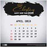 Mall för kalender April 2019 för nytt år Bakgrund f?r borsteslagl?ngdtitelrad royaltyfri illustrationer
