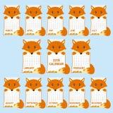 Mall för 2018 kalender Djur formad gullig räv, för kalendertecknad film för höst 2018 vektor stock illustrationer