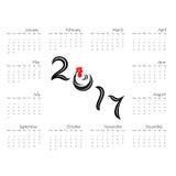 Mall för 2017 kalender Kalender för 2017 år Royaltyfri Foto