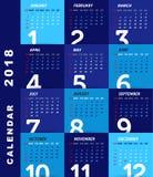 Mall för 2018 kalender, modern design royaltyfri illustrationer