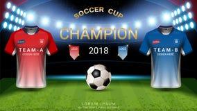 2018 mall för kopp för världsmästerskapfotboll, sista match-vinnande begrepp för mästare stock illustrationer