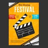 Mall för kort för affisch för biofilmfestival vektor royaltyfri illustrationer