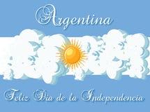 Mall för kort för Argentina lycklig självständighetsdagenhälsning med den stiliserade flaggan som en himmel, moln och sol och tex stock illustrationer