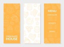 Mall för kort för chokladhusmeny, choklad, efterrätter och drinkar, restaurang, kafeteria, konfektdesignbeståndsdel royaltyfri illustrationer