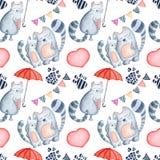 Mall för kort för hälsning för dag för valentin` s, sömlös modell royaltyfri illustrationer