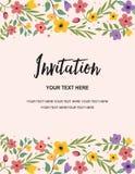Mall för kort för inbjudan för bröllopparti och årsdag Idérik design för färgrik blom- illustrationvektor Royaltyfria Bilder
