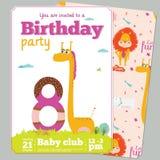 Mall för kort för inbjudan för födelsedagparti med gulligt Arkivbild