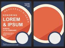 Mall för kort för inbjudan för parti för meny—matställe Arkivfoton