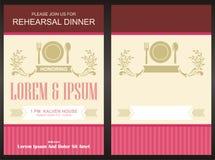 Mall för kort för inbjudan för parti för meny—matställe Royaltyfria Bilder