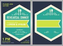 Mall för kort för inbjudan för parti för meny—matställe Fotografering för Bildbyråer