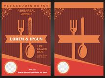 Mall för kort för inbjudan för parti för meny—matställe Royaltyfria Foton