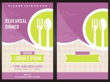 Mall för kort för inbjudan för parti för meny—matställe Arkivbild
