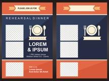 Mall för kort för inbjudan för parti för meny—matställe Arkivbilder