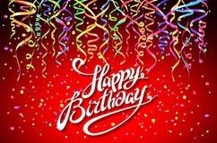 Mall för kort för lycklig födelsedag, konfetti bakgrundsfärger semestrar röd yellow Top beskådar teckendesign med den färgrika ko Royaltyfria Bilder
