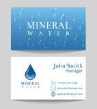 Mall för kort för mineralvattenleveransaffär stock illustrationer