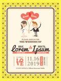 Mall för kort för tecknad filmbröllopinbjudan Arkivbild