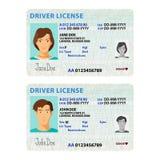 Mall för kort för vektorman- och kvinnakörkort plast- stock illustrationer