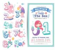 Mall för kort för inbjudan för födelsedagparti vektor illustrationer