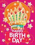 Mall för kort med födelsedagkakan och stearinljus på färgrik bakgrund stock illustrationer