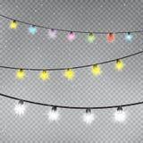 Mall för lampor för julfärgsnöflinga vektor illustrationer