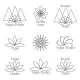 Mall för logo av yogastudion stock illustrationer