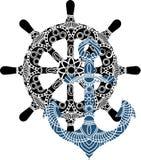 Mall för logo för design för ankare för vektorillustration nautisk royaltyfri illustrationer