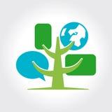 Mall för logo för Digital trädsymbol. Royaltyfri Foto
