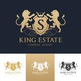 Mall för logo för konunglejonfastighet Arkivbild
